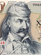 Theodoros Kolokotronis (1770-1843) on 5000 Drachmes 1984 Banknote from Greece. Greek Field Marshal and pre-eminent leader of the Greek War of Independ...