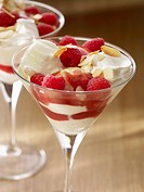 Vanilla ice cream with cream, raspberries and raspberry sauce