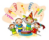 Little kids celebrating a birthday. Vector illustr