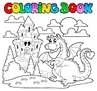 Coloring book dragon theme image 1 - picture illustration.