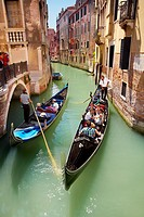 Venice - gondola floating in one of the canals of Venice, Italy, UNESCO