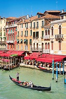 Venice - Grand Canal (Canal Grande), gondola on the canal, Venice, Italy, UNESCO
