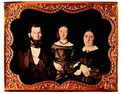 Couple with Daughter in Formal Attire, Portrait, Daguerreotype, Circa 1850's
