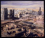 Ruins Along Wabash Avenue after Great Fire, Chicago, Illinois, USA, Hand-Colored Lantern Slide, Circa 1871