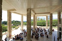 Cafe under Exhibitions Pavilion. Getty Center. Los Angeles. California. USA