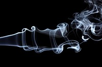 Dancing trail of smoke on a black background