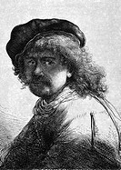 ESY-005508055 Rembrandt 1606 1669 on engraving from 1859 Dutch painter and etcher Engraved by unknown artist and published in Meyers Konversations Lex.....