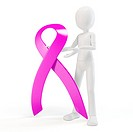 3d man with a pink ribbon cancer symbo