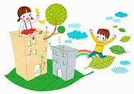 illustration of kids and buildings on a leaf
