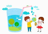illustration of kids and a glass of water with a land inside