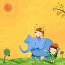 illustration of a kids and an elephant
