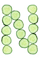 Vegetable Alphabet of chopped cucumber - letter N