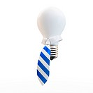 3d bulb with tie business concept