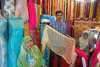 Singapore, Kampong Glam, Muslim Quarter, Arab Street, textile, merchant, fabric, dresses, Asian, man, woman, Muslim, hijab, silk, business, for sale, ...