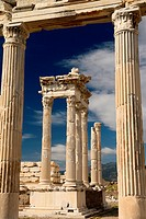 Frame of white marble corinthian colums at Trajan Temple at Pergamon archeological site Bergama Turkey