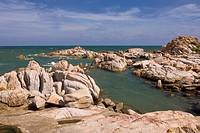 Asia, mountain, cliff formations, fishing village, fishing boats, mountains, Hai, Dang, Ke, Ka, coast, coasts, coastal, scenery, seashore, nature, Sou...