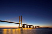 Portugal, Lisbon, View of Vasco da Gama bridge at River Tagus