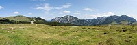 Austria, View of alp pasture with Postalm chapel Rinnkogel mountain in background