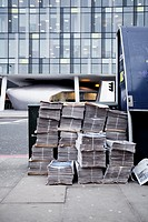 Evening Newspapers ready to be delivered, near Southwark tube station, London, UK