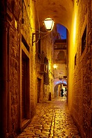 Croatia - Old Town in Trogir, street by night, Dalmatia, Croatia, UNESCO