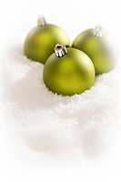 Green Christmas Ornaments on Snow Flakes with Text Room