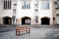 Bench on a square, Lincoln's Inn Chapel, London, UK.