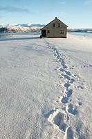 Loneliness house in Kvaloyvagen, near Tromso, Norway.