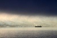 Ship arriving Tromso, Norway.
