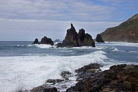 rocky coast of Anaga mountains, Canary Islands, Tenerife, Benijo