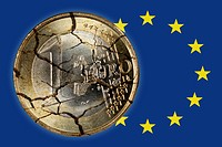 Cracked euro coin on EU banner, European debt crisis