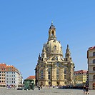 The world-famous Frauenkirche Church on the Neumarkt Square of Dresden, Saxony, Germany, Europe
