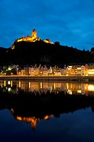 Cochem Imperial Castle, Reichsburg, in the evening light, Cochem, Moselle, district Cochem Zell, Rhineland Palatinate, Germany, Europe