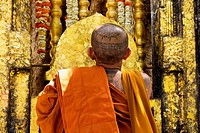 India, Bihar, Thai Monk Prays At Mahabodhi Temple Where Buddha Attained Enlightenment Under Bodhi Tree; Bodhgaya