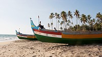 Local Wooden Fishing Boats Near Varkala, Kerala, India