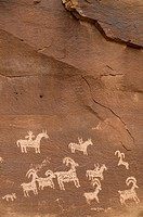 Utah, Arches National Park, Ancient Petroglyphs Depicting Animals On Rock.