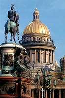 St. Isaac's Church And Nicholas I Statue; Saint Petersburg, Russia