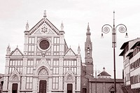Santa Cruce Church, Florence, Italy in Black and White Sepia Tone