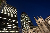 Gherkin (Swiss re) offices at night, London, UK