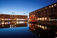 Albert Dock reflections at dusk, Liverpool, UK