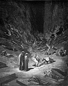 Gustave Doré; Divine Comedy Canto IX, The 6th Circle; Black and White Engraving