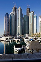 United Arab Emirates, View Of City Marina And Skyscrapers; Dubai