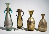 Decorated Roman Glass amphoras and bottles 3-4th century CE