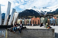 View over the River Inn towards the famous coloured buildings on the south facing side with the Nordkette Mountain behind. Innsbruck, Tyrol, Austria, ...