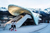 Hungerburgbahn, hybrid funicular railway, Loewenhaus station by Zaha Hadid, Innsbruck, Tyrol, Austria, Europe.