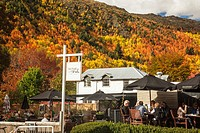 Open air cafe The Fork and Tap, autumn afternoon, Arrowtown, Otago, New Zealand