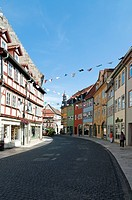 Half-timbered houses in the Marktstrasse, Bad Langensalza, Thuringia, Germany