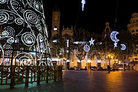 Christmas in Valencia, Town Hall square. Spain