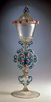 Large celebratory glass goblet with lid, Venice and Murano Glass and Mosaic Company Ltd, 1875. Italy, 19th century