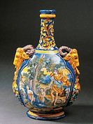 The death of Coronis, scene taken from a flask with two handles in the shape of rams, 1660-1680, maiolica, Nevers manufacture, Burgundy. Detail. Franc...