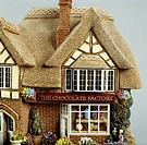 The chocolate factory, miniature, ceramic, Lilliput Lane manufacture, Carlisle, Cumbria. Detail. England, 20th century.